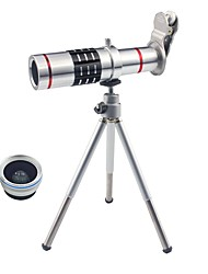 3 in 1 Smart Phone Lenses Kit 18X Optical Zoom Telephoto Lens  0.45X Wide Angle Lens  15X Macro Lens Mini Tripod with Special Clip for Phone (Silver)