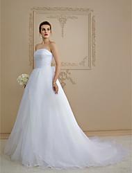 Linha A Sem Alças Cauda Capela Organza Vestido de casamento com Laço Botão Drapeado Lateral de LAN TING BRIDE®