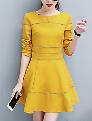 Women's Going out Casual/Daily Simple Street chic A Line Dress,Solid Round Neck Mini Long Sleeves Polyester Spring Fall Mid Rise Inelastic