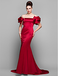 Mermaid / Trumpet Off-the-shoulder Court Train Satin Formal Evening Dress with Pleats by TS Couture®