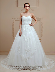 Ball Gown Sweetheart Court Train Lace Wedding Dress with Beading Appliques Buttons by LAN TING BRIDE®