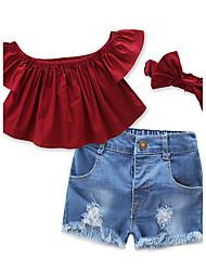 Conjuntos Chica Un Color Cosecha Algodón Poliéster Pantalones cortos Todas las Temporadas Conjunto de Ropa