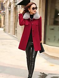 Для женщин На каждый день Осень Зима Пальто Рубашечный воротник,Простой Однотонный Длинная Длинный рукав,Полиэстер,Меховая оторочка