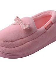 Damen Schuhe Samt Winter Mokassin Pelzfutter Flaum Futter Slippers & Flip-Flops Niedriger Absatz Runde Zehe Bommel Für Normal Pink Rosa