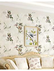 Цветочный принт Обои Для дома Современный Облицовка стен , Чистая бумага материал Клей требуется обои , Обои для дома