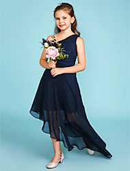 A-Line One Shoulder Asymmetrical Chiffon Junior Bridesmaid Dress with Side Draping by LAN TING BRIDE®