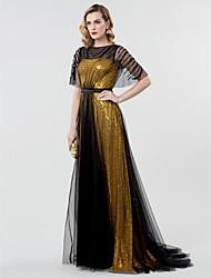 Linha A Princesa Bateau Neck Cauda Escova Tule Paetês Evento Formal Vestido com Faixa / Fita Lantejoulas de TS Couture®