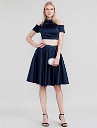 Prinzessin Zweiteiler Stehkragen Knie-Länge Satin Cocktailparty Kleid mit Perlenstickerei Kristall Verzierung durch TS Couture®
