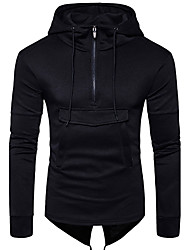 Men's Going out Casual/Daily Simple Hoodie Solid Hooded Inelastic Cotton Long Sleeve Winter