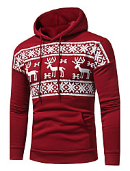 Men's Plus Size Going out Casual/Daily Simple Active Street chic Hoodie Print Jacquard Hooded Micro-elastic Cotton Polyester Long Sleeve