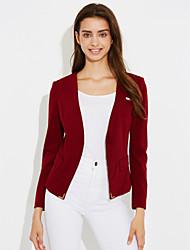 Damen Punkt Gestreift Einfach Lässig/Alltäglich Anzug,Hemdkragen Frühling Herbst Lange Ärmel Standard Polyester