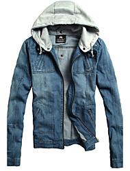Men's Plus Size Casual/Daily Simple Street chic Fall Denim Jacket,Color Block Hooded Long Sleeve Regular Cotton Oversized Patchwork