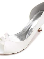 Damen Schuhe Satin Frühling Sommer Komfort D'Orsay und Zweiteiler Pumps Hochzeit Schuhe Niedriger Absatz Kitten Heel-Absatz Stöckelabsatz