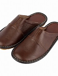 Men's Slippers & Flip-Flops Comfort Spring Fall Real Leather Casual Split Joint Flat Heel Dark Brown Light Brown Flat