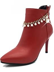Femme Chaussures Similicuir Automne Hiver Bottes à la Mode Botillons Bottes Talon Aiguille Bout pointu Bottine/Demi Botte Imitation Perle