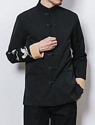 Для мужчин На каждый день Осень Куртка Воротник-стойка,Шинуазери (китайский стиль) С принтом Обычная Длинный рукав,Другое