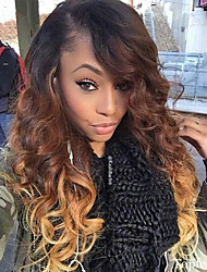 Women Human Hair Lace Wig Glueless Lace Front 130% Density Body Wave Wigs Brazilian Hair Black/Medium Brown/Strawberry Blonde Medium Long