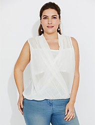 Women's Plus Size Going out Casual/Daily Sexy Simple Summer Fall Tank Top,Solid V Neck Sleeveless Polyester Medium
