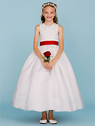 Ball Gown Crew Neck Ankle Length Lace Satin Junior Bridesmaid Dress with Beading Bow(s) Sash / Ribbon by LAN TING BRIDE®