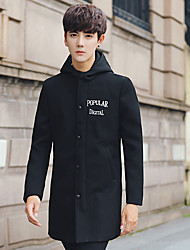 Men's Casual/Daily Simple Winter Trench Coat,Solid Hooded Long Sleeve Long Polyester
