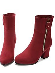 Femme Chaussures Cuir Nubuck Cuir Automne Hiver Bottes Cavalières Bottes Gros Talon Bout pointu Bottine/Demi Botte Fermeture Pour Soirée