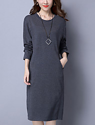 Women's Casual/Daily Plus Size Street chic Loose Dress,Solid Round Neck Midi Long Sleeves Cotton Fall Winter Mid Rise Inelastic Medium