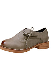 Women's Oxfords Comfort Spring Fall PU Casual Lace-up Flat Heel Khaki Gray Black Under 1in