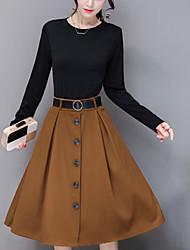 Feminino Bainha Vestido,Para Noite Casual Simples Moda de Rua Retalhos Decote Redondo Altura dos Joelhos Manga Longa Poliéster Primavera