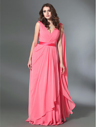 A-Line Princess V-neck Floor Length Stretch Satin Evening Dress with Draping by TS Couture®