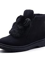Damen Schuhe Beflockung Herbst Winter Schneestiefel Flaum Futter Stiefel Booties / Stiefeletten Für Normal Schwarz Grau