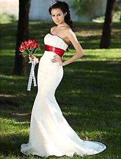 트럼펫 / 인어 연인 법원 기차 공단 주름 잡아 드리 워진 웨딩 드레스