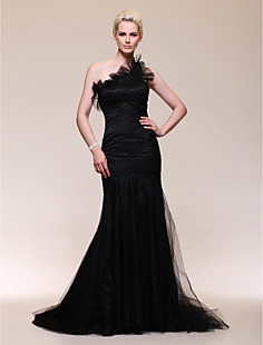 Satin Tulle Trumpet/Mermaid One Shoulder Sweep Train Evening Dress inspired by Julia Stiles at Golden Globe Award
