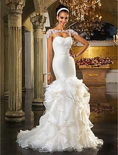 트럼펫 / 인어 연인 청소 / 브러쉬 기차 및 organza와 얇은 명주 그물 웨딩 드레스 (519036)