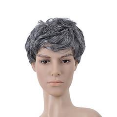 Capless Short Grey Curly Hair Wig