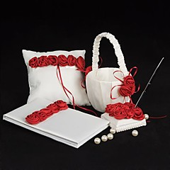 4 Collection Set White / Red Flower Basket / Guest Book / Pen Set / Ring Pillow