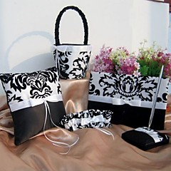 5 Collection Set Black Guest Book / Pen Set / Ring Pillow / Flower Basket / Garter