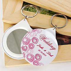 personlig spegel nyckelring - rosa ballong (sats om 12)