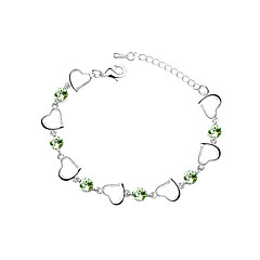 Elegant Ladies'/Child's Crystal Charm Bracelet In Silver Alloy