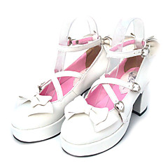 Lolita Shoes Sweet Lolita Lace-up High Heel Shoes Bowknot 7.5 CM For PU Leather/Polyurethane Leather Polyurethane Leather