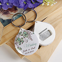personlig flasköppnare / nyckelring - grön blomma (sats om 12)