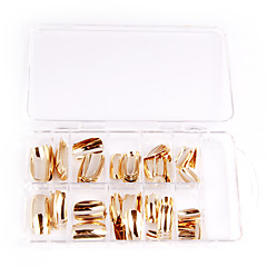 75pcs metaal glanzend zilveren en gouden acryl uv gel valse nail art tips