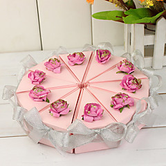 Pink Cake Slice Box With Silver Bows (Set of 10)