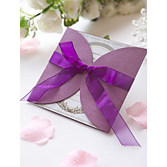 Formal Purple Wedding Invitation With Organza Bow (Set of 60)