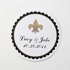 Personalized Round Favor Stickers – Flower-de-luce (Set of 36)