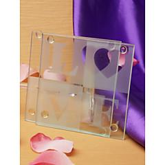 amor coasters de vidro (conjunto de 2)