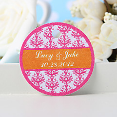 Personalized Favor Tag - Pink Floral Print (Set of 36)