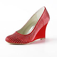 Elegant Satin Wedge Heel Closed Toe With Rhinestone Wedding Party Women's Shoes
