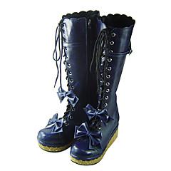 נעליים לוליטה מתוקה עבודת יד פלטפורמה נעליים סרט פרפר 7 CM כחול ל נשים עור פוליאוריתן