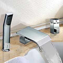 Moderne Romersk Kar Vandfald / bred spary / Håndbruser inkluderet with  Keramik Ventil To Håndtag tre huller for  Krom , Badekarshaner