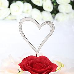 Cake Topper Non-personalized Hearts Wedding / Anniversary / Bridal Shower / Quinceañera & Sweet Sixteen / Birthday Rhinestone Silver